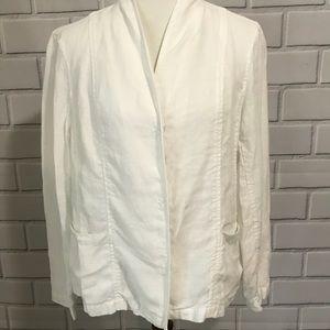 Eileen Fisher White Linen Boxy Lagenlook Jacket M